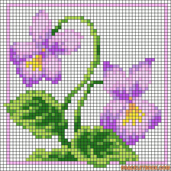African violet flower perler bead pattern