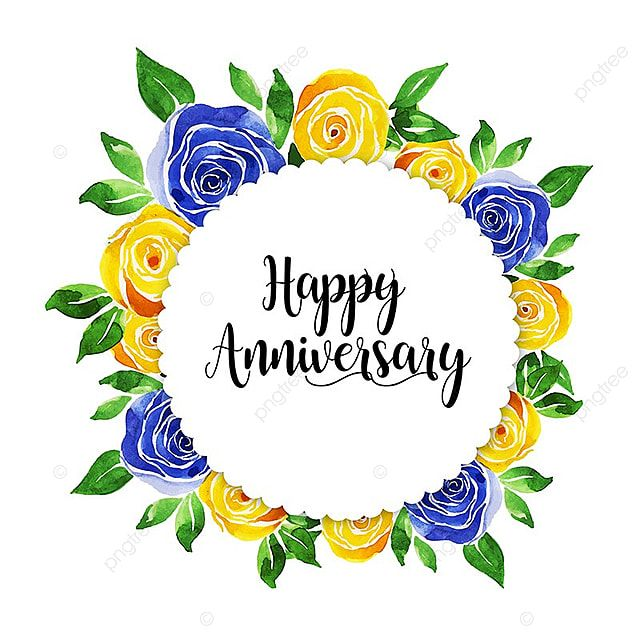 Watercolor Floral Wedding Anniversary Frame Watercolor Color Colorful Png And Vector With Transparent Background For Free Download In 2020 Anniversary Frame Floral Watercolor Floral Wedding