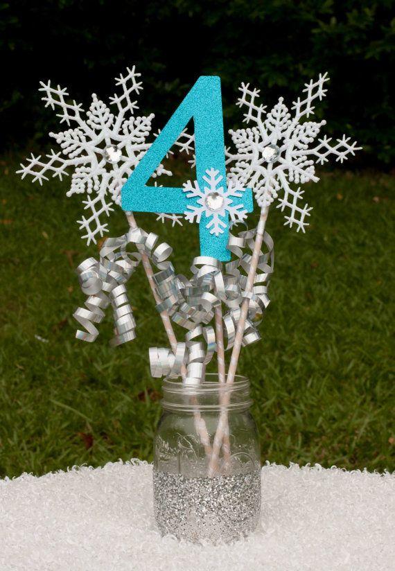 Congelados cumpleaños fiesta invierno Onederland central copo de nieve varitas decoración de mesa