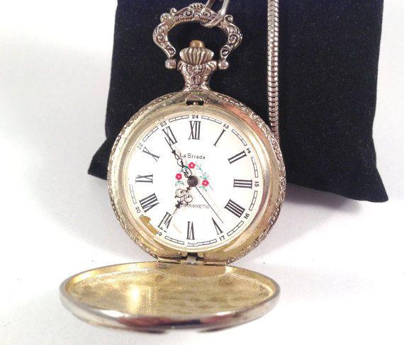 La Strada Old Vintage Pocket Watch Silver by StonebrookVintage