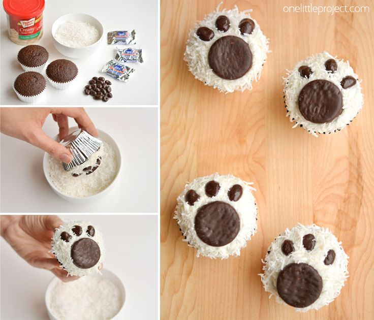 These polar bear paw cupcakes are easy to make and they look ADORABLE! They'd be great for a Christmas party, teddy bear picnic, or as a fun winter treat!
