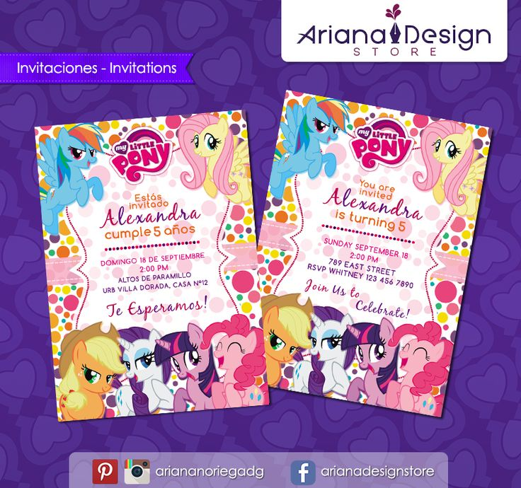 #printable #invitation #mylittlepony #mipequeñopony #mlp #arianadesignstore #invitacion #imprimible #fiestainfantil #cumpleaños #mylittleponyparty #ponyparty #fiestamylittlepony #fiestatematica
