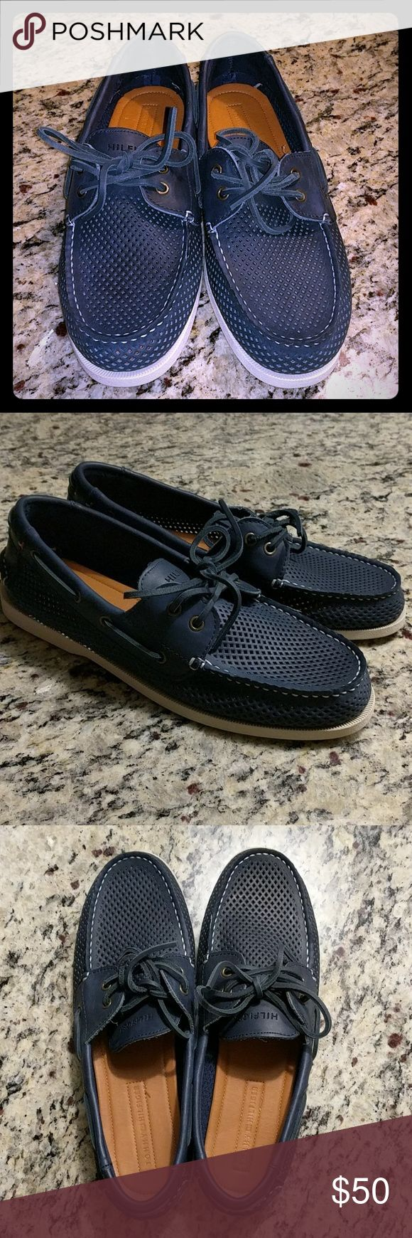 Tommy Hilfiger mens 10.5 navy blue boat shoes Pair of TH navy blue boat shoes in size 10.5 new, never worn. No tags, no original box! Tommy Hilfiger Shoes Boat Shoes
