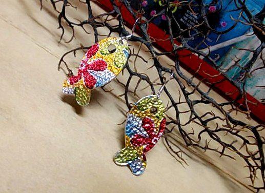 Painted fish...summer earrings...love summer <3