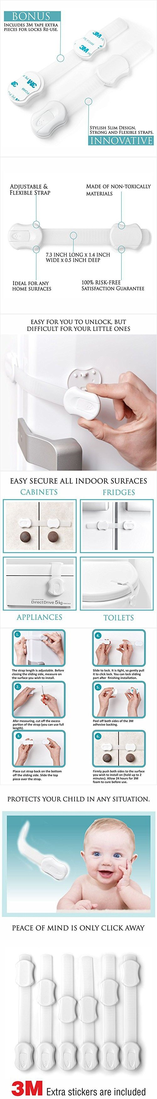Set of 6 Child Safety Locks For Child Proofing - Easy & Well Protected Home for Baby - Baby Proofing Child Safety Latches - Strong Adhesive for Cupboards, Cabinets, Drawers, Fridges.