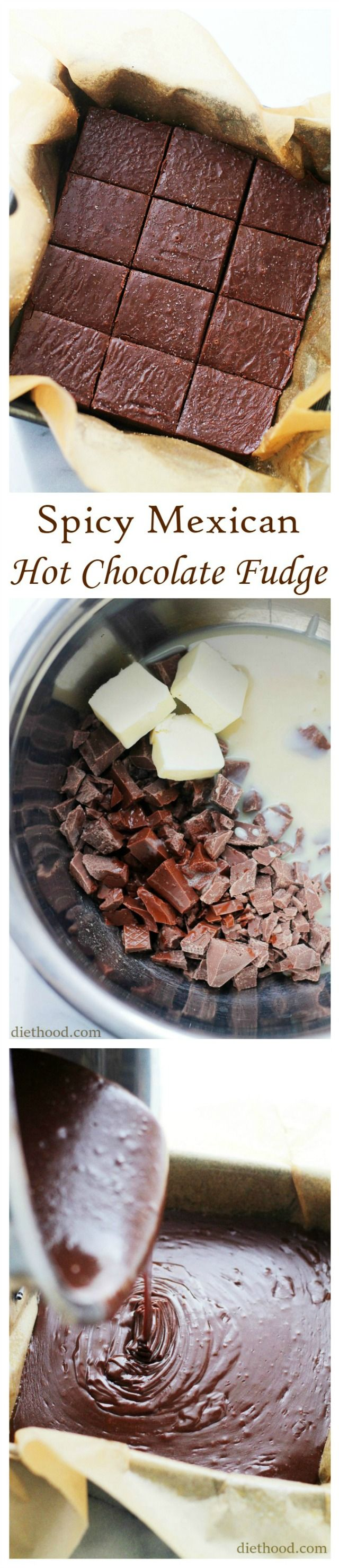 Spicy Mexican Hot Chocolate Fudge - With a little cayenne pepper, chili powder and lots of cinnamon, this fudge is spicy, delicious, chocolaty and EASY!