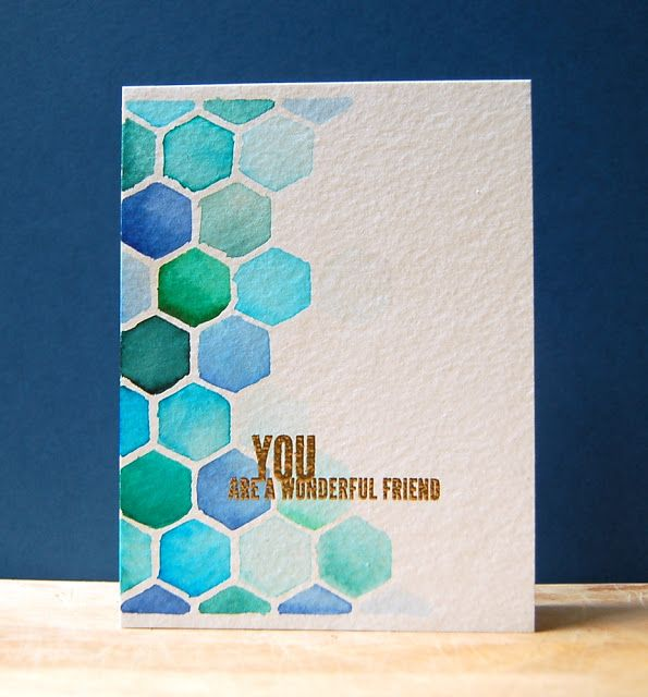 handmade card from My Pape Secret ... watercolor hexagons ... watercolor paper ... stencil cut from acetate with all over die ... luv the blues, aqua and green water color ... beautiful!!