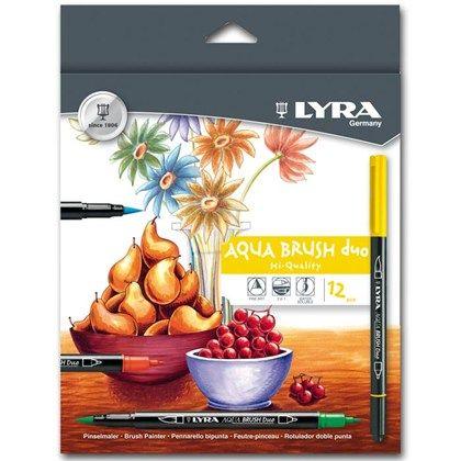 Lyra Aqua Brush Duo är en twin-tip penna med finelinerspets i ena änden och en penselspets i andra änden. Detta gör att pennan kan användas till en mängd olika tekniker.