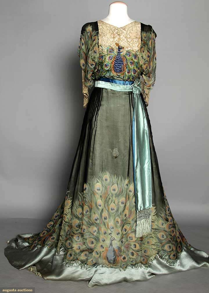 "ARTS  CRAFTS GOWN, PARIS, c. 1910 Peacock tail printed silk chiffon w/ embroidered  beaded peacock on bodice, Paris label ""Weeks""."