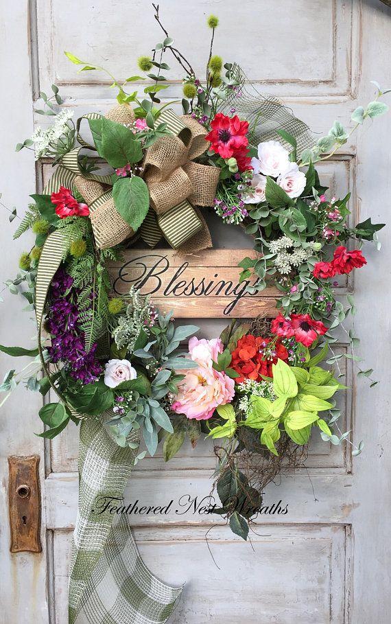 Spring Door Wreath Spring Wreath Blessings Sign
