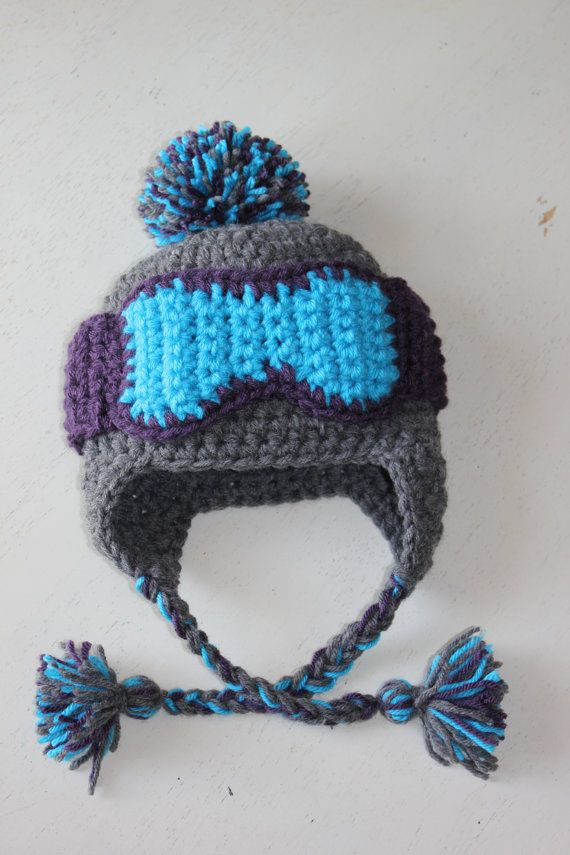 Baby Ski Hat with Goggles Braids Pom--Adorable Ski Bunny Stocking Cap--Perfect Newborn Photo Prop. $40.00, via Etsy.