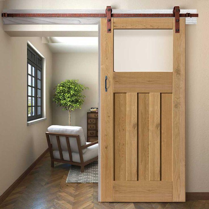 Thruslide Traditional Rustic 1930 DX Shaker Oak Sliding Door  - Prefinished With Obscure Safety Glass - Lifestyle Image.    #oakdoor #slidingdoor
