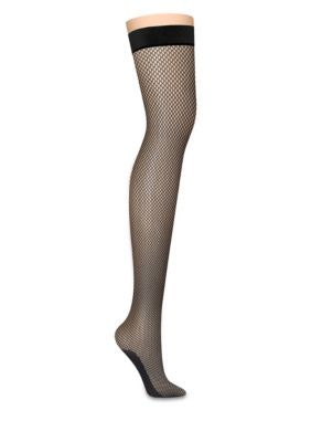 Dkny Women's Fishnet Thigh High Tights - Black - 4 Tall Or Long Or Large