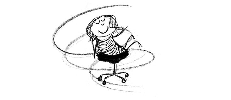 Happiness is.. spinning in an office chair