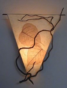www.AmbientArt.com curly willow triangle wall sconce with Bohdi leaves