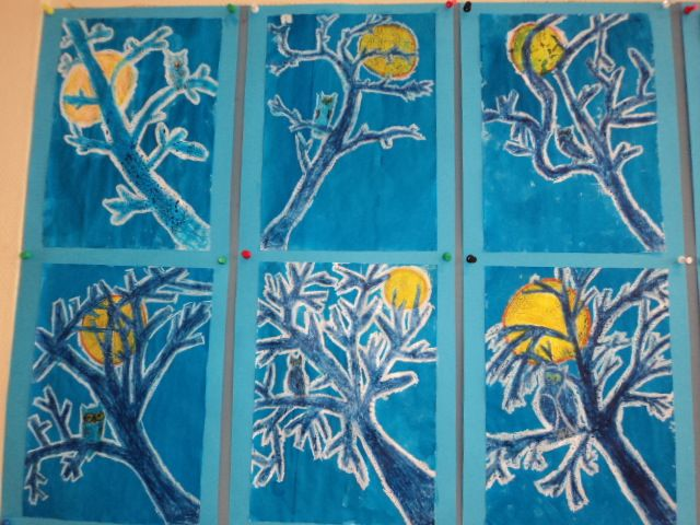 "Zie de maan schijnt door de bomen...translated ""See the moon shining through the trees"" -oil pastel and watercolor paint?"