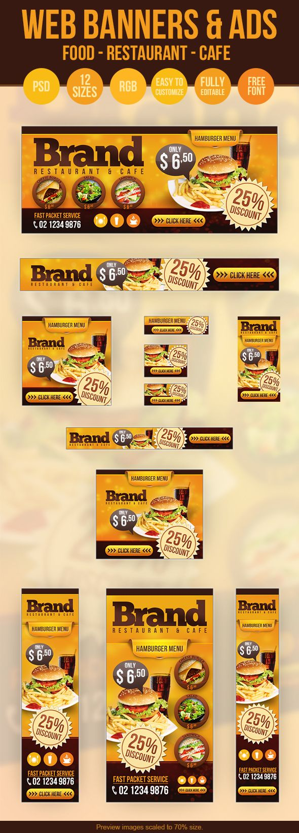 Web Banners  Ads - Restaurant - Cafe - Food by Hüseyin Kayacı, via Behance