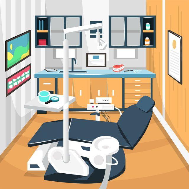 تنظيف غرفة طبيب الأسنان العناية بالأسنان مفهوم المستشفى مع كامل معدات طب الأسنان كرسي من الكرتون التوضيح النواقل غرفة فنية مكتب الصفحة الرئيسية Png والمتجهات Room Cartoons Vector Dental Design