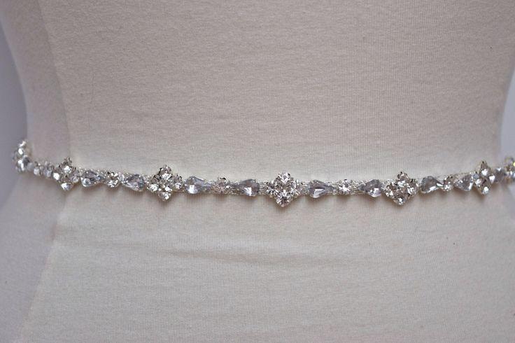 A personal favorite from my Etsy shop https://www.etsy.com/listing/221790548/thin-rhinestone-belt-bridal-belt