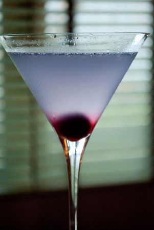 """Pretty drink, great story. """"Aviation"""" cocktail: Gin, lemon, Luxardo, creme de violette - ice - shake - pour, garnish with brandied cherry."""