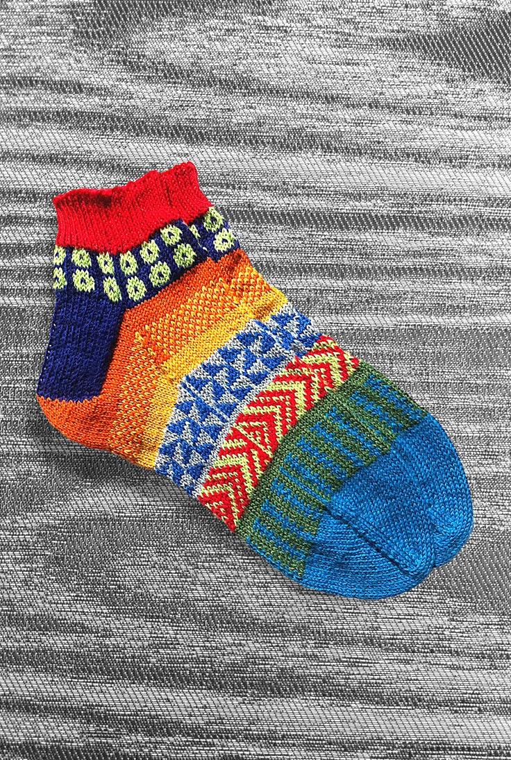 Socks - Hand knit - Short - Wool- Unique Icelandic Design - Multi color - Original design - Washable wool socks. 2.1S. LizSox via Etsy.