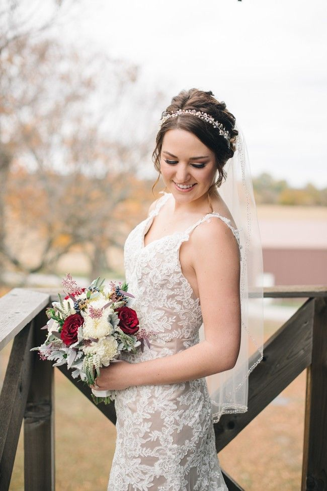 Bride with pretty ivory and red bouquet | Amanda Adams Photography | see more at http://fabyoubliss.com