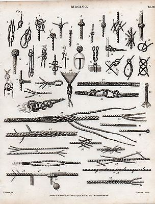 1816 georgian print ~ rigging ~ #knots #nautical various rope sailing #ships,  View more on the LINK: http://www.zeppy.io/product/gb/2/161653561187/