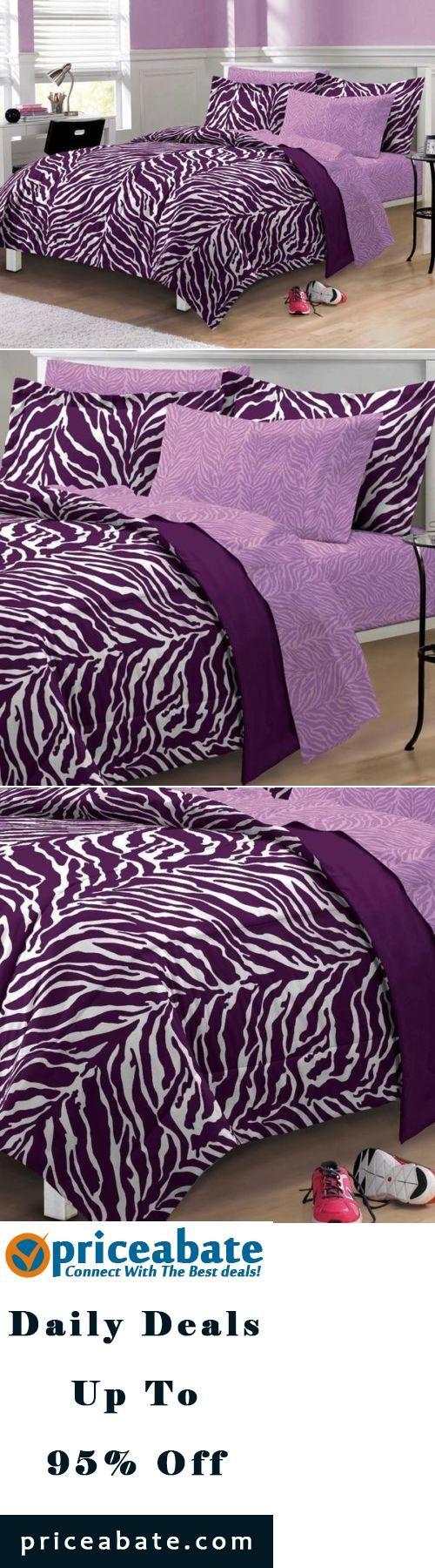 #blackfriday #blackfridaydeals #blackfridaysales Teen Girls Purple Zebra Stripe 7 PC FULL / DOUBLE Comforter Sheets Bedding Set - Buy This Item Now For Only: $79.95