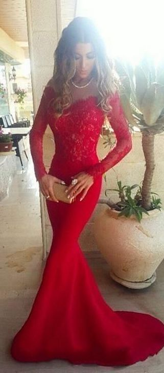 Long Sleeves Red Lace Long Prom Dresses,Wedding Dress,Mermaid Sheath Evening Dresses,Sexy Prom Dress On Sale: