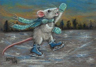Kmcoriginals Rat Skating Blue Ice Skates Original ACEO Art Pastel Drawing Nfac   eBay