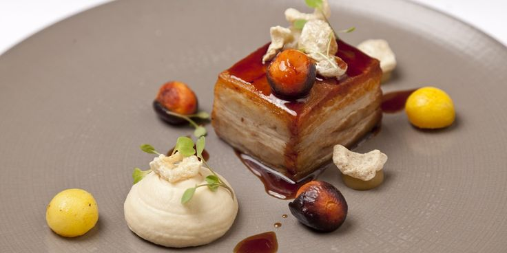 Richard Davies uses old and new techniques to create a stunning pork belly dish, accompanying with baked apple and celeriac purées, carrots ...