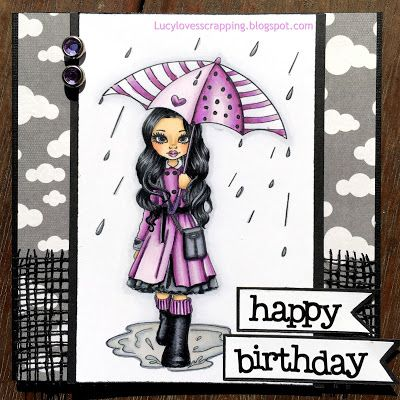 Lucy loves scrapping, Lucy Patrick: Cute as a Button digi stamp handmade hand colored cute girly rain card