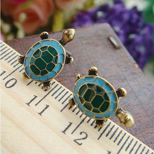Sea Turtle Ear Stud- Minimalist Dainty Bronze Small Little Tortoise Metal Earring, Enameled Blue Green,  Nautical Marine Sea Animal jewelry