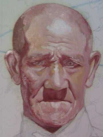 SOLD - The Old man, portrait in process, created by Samuel Friday, Oil on  canvass, 35cm x 45cm