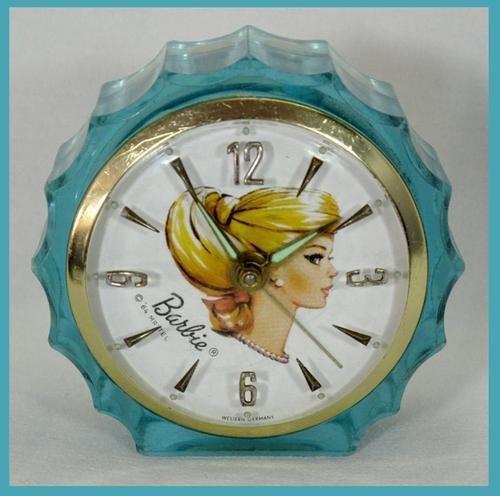 Very RARE Vintage Blue Swirl Barbie 1964 Starbright Boudoir Alarm Clock Works…