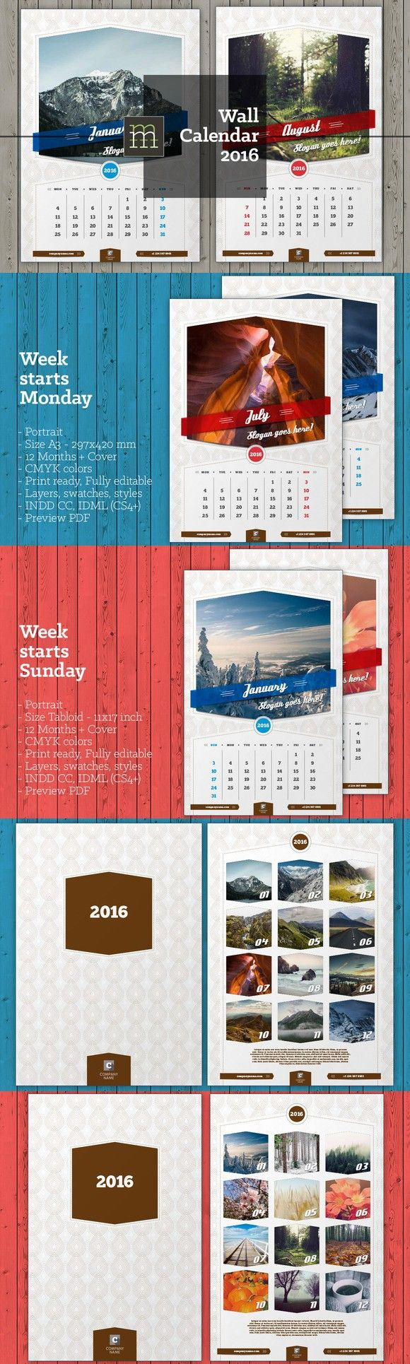 Wall Calendar 2016 (WC03). Stationery Templates