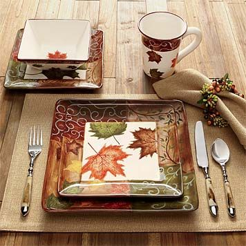 fall table dishes | Square Dinner Plates Set / Fall Foliage China -- Orvis