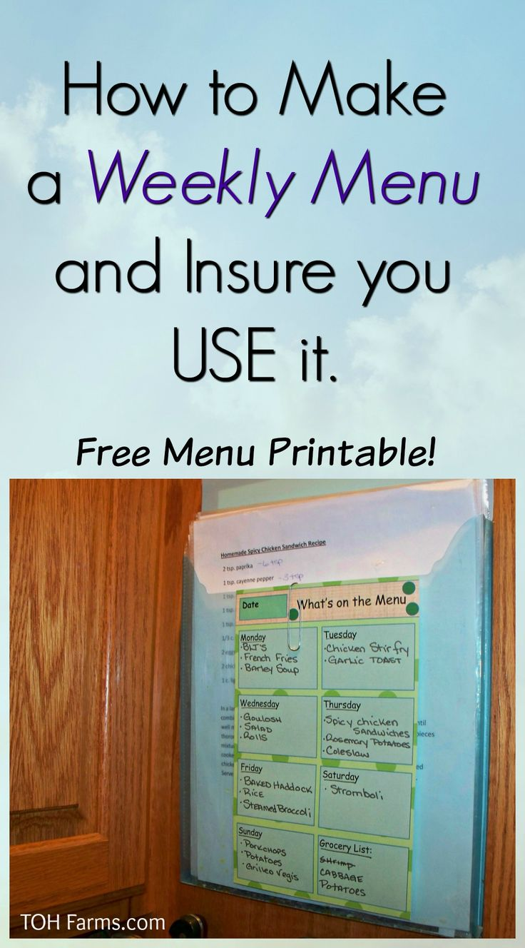 Learn how to make a weekly menu and tips to make sure you actually use it!  Free Menu Printable!!
