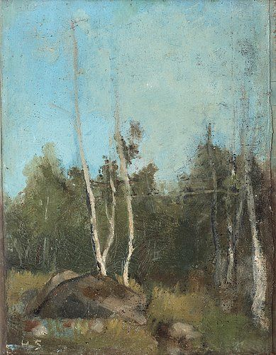 "HELENE SCHJERFBECK, ""Landskap med björkar"" (Landscape with birch). Signed HS. Executed in the 1890's."