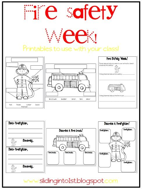 fire truck worksheet sliding into first september 2012 classroom ideas pinterest. Black Bedroom Furniture Sets. Home Design Ideas