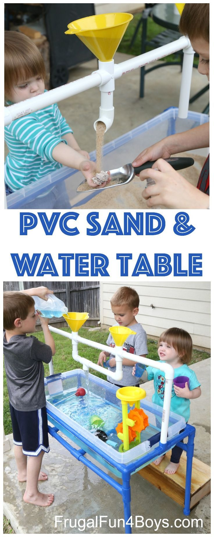 Use PVC pipe to make a sand and water table for kids! My 2, 4, and 6 year olds have been loving this sensory play table. I am loving the fact that you can change out the tubs and do either water or sand (or something else!) but not have both out at the s