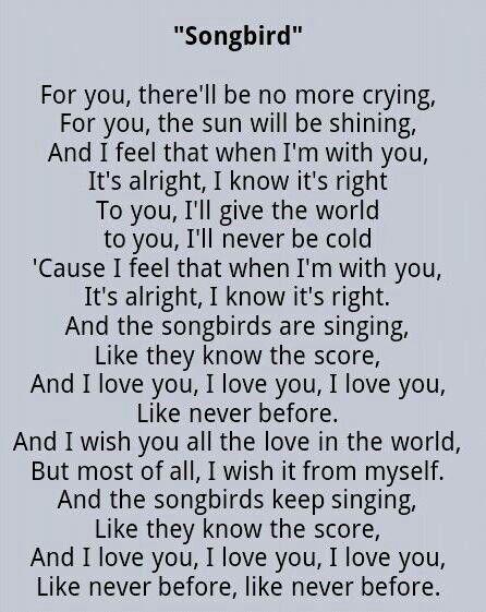 "My very sweet, most favorite song by Fleetwood Mac- ""Songbird"""
