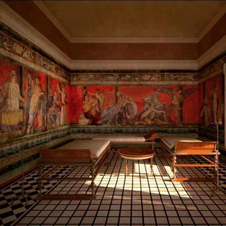 Reconstruction of the Triclinium  Villa of the Mistery   Antiquity Romans  Pompeii ruins