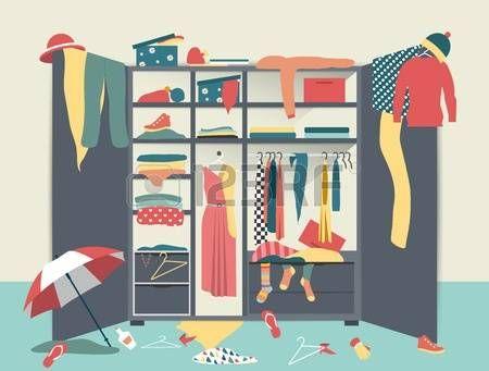 wardrobe: Açık dolap. düzensiz giysi, gömlek, kazak, kutular ve ayakkabı ile beyaz dolap. Ev iç karışıklık. Düz tasarım illüstrasyon. Çizim