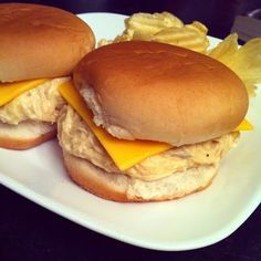 Slow-Cooker Shredded Chicken Sandwiches. When I make this I'll use cheddar cheese instead of American.