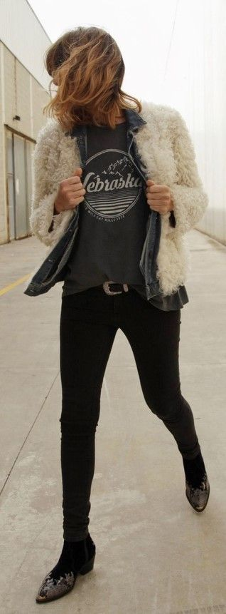 black pants, t-shirt, denim jacket, teddy coat, faux fur, rocker style