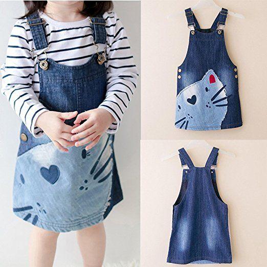Healthy Clubs Mädchen Stickerei Cartoon Katzen Druck Denim Jeans Sommer Overall Kleid: Amazon.de: Bekleidung