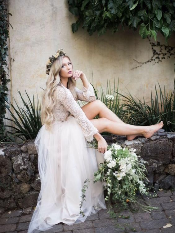 b49f0dca7b79 Long Sleeve Lace Top Beach Wedding Dresses With Slit Cheap Rustic Wedding  Dress AWD1260 in 2019 | Products you tagged | Wedding dresses, Slit wedding  dress, ...