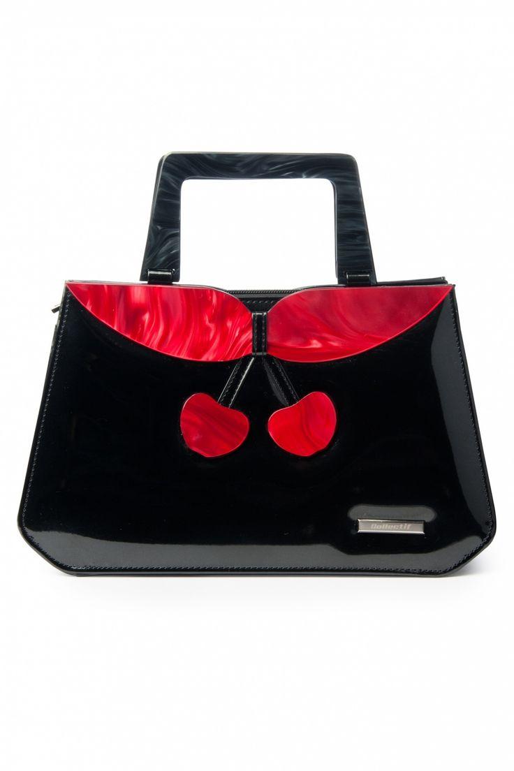 Collectif Clothing - Collectif Clothing - 40s Debbie Lucite Patent Cherry Retro handbag black