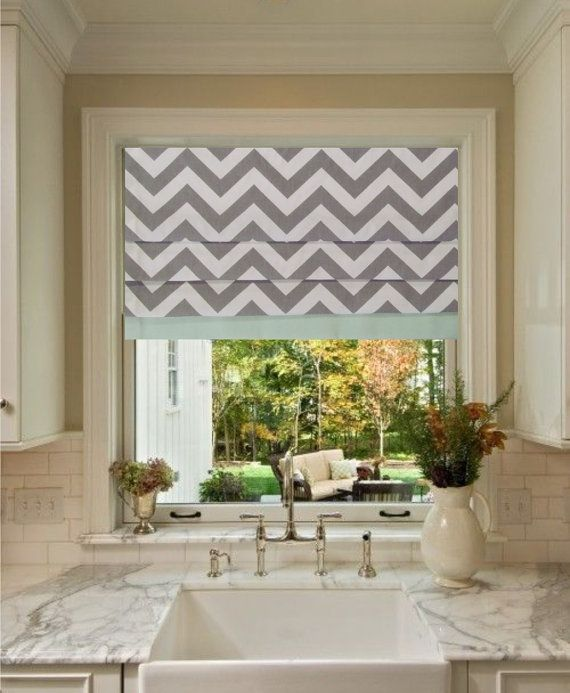 faux roman shade storm grey chevron with mint green border zig zag stationary fake roman shades you choose the size